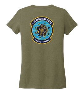 FORCE BLUE 100 YARDS OF HOPE Women's V-neck T-shirt in Earthy Green