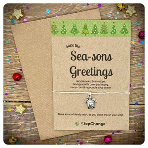 "Turtle Charm Bracelet with ""save the Sea-sons Greetings"" Message Card"