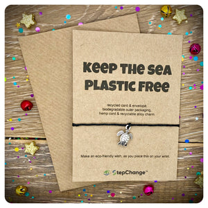 "Turtle Charm Bracelet with ""KEEP THE SEA PLASTIC FREE"" Message Card"