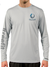 Load image into Gallery viewer, Ocean Habitats Shirt with #reefit Sleeve in Pearl Grey