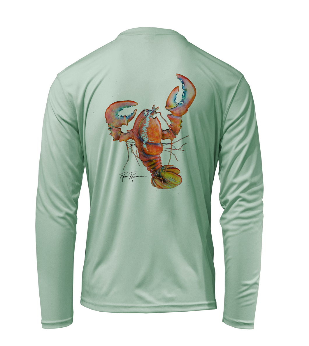 Ronnie Reasonover, The Lobster, Performance Long Sleeve Shirt in Sea Foam Green