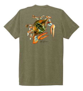 Ronnie Reasonover, The Crab, Crew Neck T-Shirt in Earthy Green