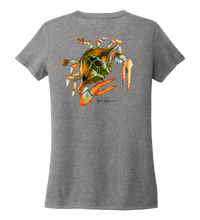 Load image into Gallery viewer, Ronnie Reasonover, The Crab, Women's V-neck T-shirt in Oyster Grey
