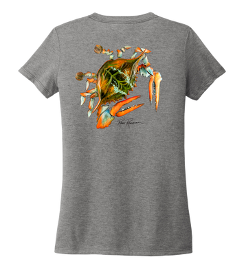 Ronnie Reasonover, The Crab, Women's V-neck T-shirt in Oyster Grey