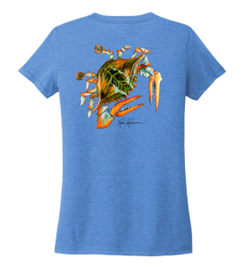 Ronnie Reasonover, The Crab, Women's V-neck T-shirt in Sky Blue