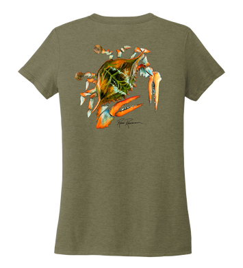 Ronnie Reasonover, The Crab, Women's V-neck T-shirt in Earthy Green