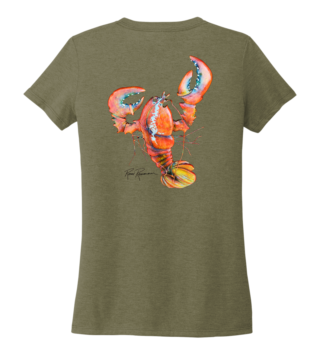 Ronnie Reasonover, The Lobster, Women's V-neck T-shirt in Earthy Green
