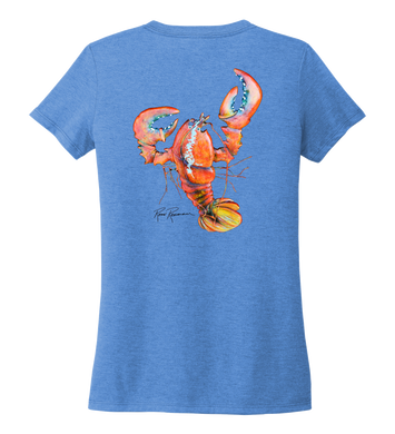 Ronnie Reasonover, The Lobster, Women's V-neck T-shirt in Sky Blue