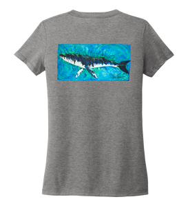 Ronnie Reasonover, The Whale, Women's V-neck T-shirt in Oyster Grey
