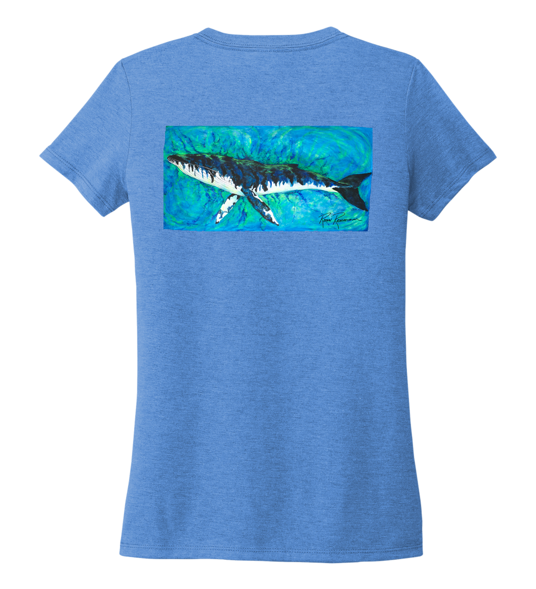 Ronnie Reasonover, The Whale, Women's V-neck T-shirt in Sky Blue