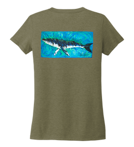 Ronnie Reasonover, The Whale, Women's V-neck T-shirt in Earthy Green