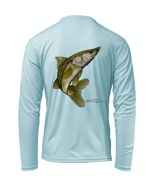 Artist Collection: Colin Thompson, Snook, Performance Long Sleeve Shirt in Cloud Blue