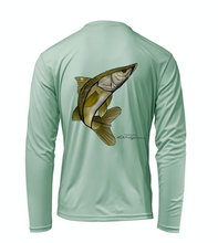 Load image into Gallery viewer, Colin Thompson, Snook, Performance Long Sleeve Shirt in Sea Foam Green