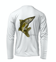 Load image into Gallery viewer, Colin Thompson, Snook, Performance Long Sleeve Shirt in Marine White