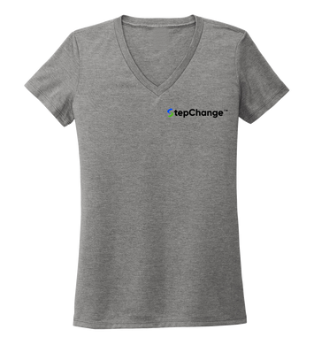 StepChange Women's V-neck T-shirt in Oyster Grey