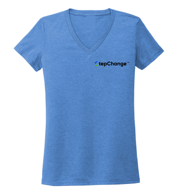 StepChange Women's V-neck T-shirt in Sky Blue