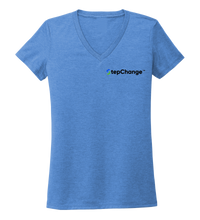 Load image into Gallery viewer, StepChange, Porpoise, Women's V-neck T-shirt in Sky Blue