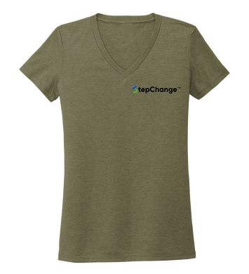 StepChange Women's V-neck T-shirt in Earthy Green