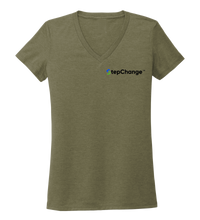 Load image into Gallery viewer, Ronnie Reasonover, The Whale, Women's V-neck T-shirt in Earthy Green