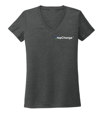 StepChange Women's V-neck T-shirt in Slate Black