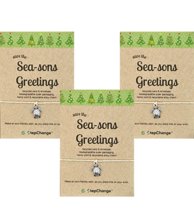"*BUY2GET1FREE* Bundle - Turtle Charm Bracelet with ""save the Sea-sons Greetings"" Message Card"
