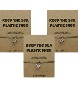 "*BUY2GET1FREE* Bundle - Turtle Charm Bracelet with ""KEEP THE SEA PLASTIC FREE"" Message Card"