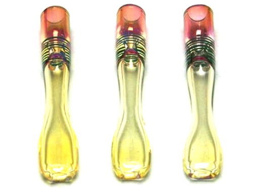 3.5″ Color Changing Gold Fumed One Hitter/Chillum Pipe (6pcs)