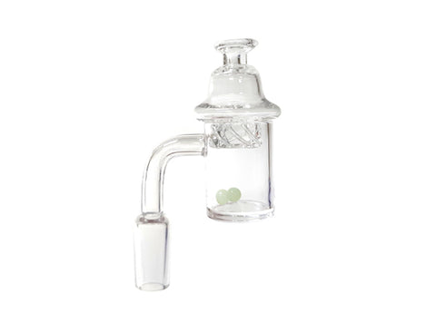 14mm Male Clear Pyrex Glass Bowl with Glass Cap and Fluorescent Balls