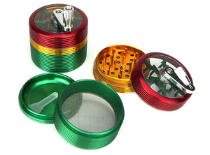 Rasta 4-Piece Hand Crank Herb Grinder 1pc | 62mm 2.5 inch