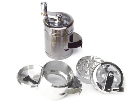 4-Piece Hand Crank Herb Grinder w/ Side Dispenser | 50mm