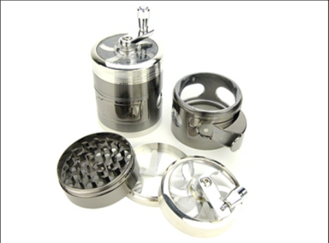 4-Piece Hand Crank Herb Grinder w/ Side Windows & Dispenser D-60mm
