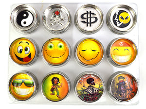 2 Parts Emoji Skull Bob Marley Design Zinc Alloy Herb Metal Grinder 1pc  | 1.25 inch