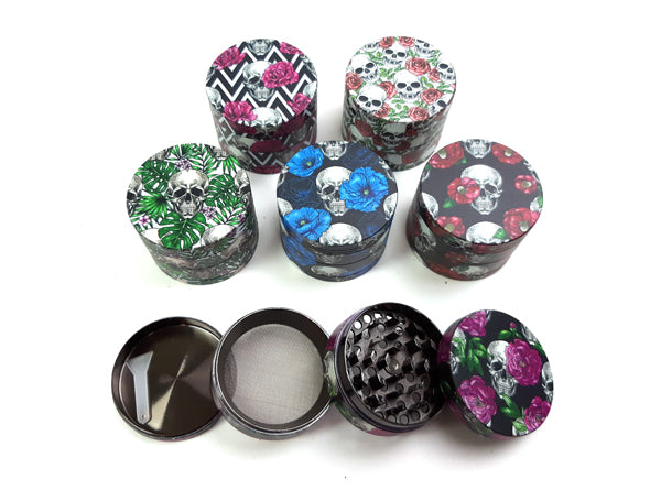4-Part Skull Flower Style Metal Grinder Dimension | 50mm 2 inch