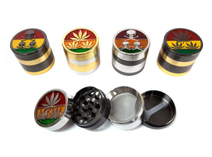 40mm 4-Part Rasta Leaf Skull Top Metal Tobacco Grinder