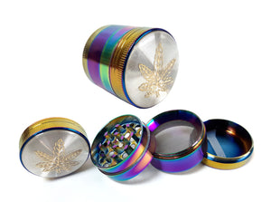 40mm 4-Part Rainbow Leaf Top Metal Tobacco Grinder