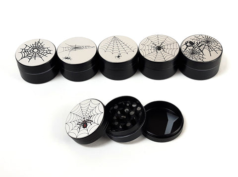 40mm 3-Part Black Spider Design Metal Tobacco Grinder