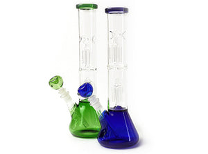 13″ Double Tree Perc Beaker Base Glass Water Pipe Bong Assorted Color