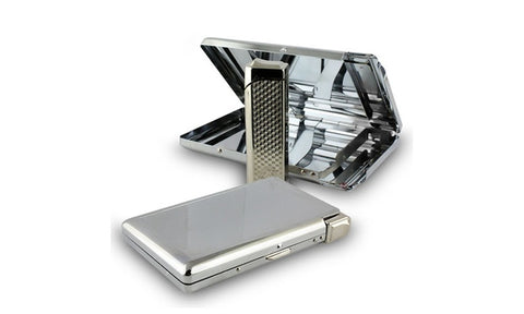 Stainless Steel Cigarette Case Holder Box w/ Butane Refillable Lighter