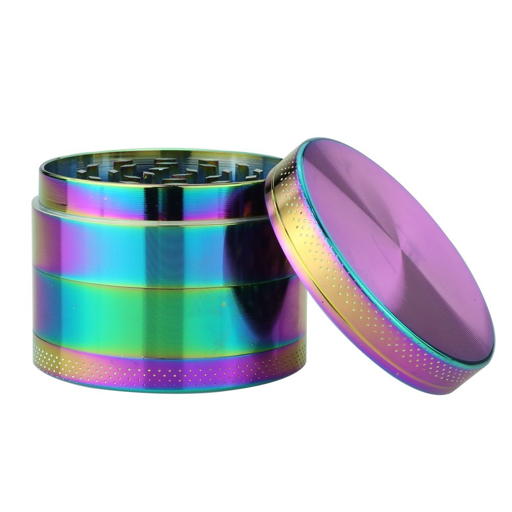 Herb Rainbow Metal 4 Piece Tobacco Herb Spice Crusher Grinder | 2.5 inch