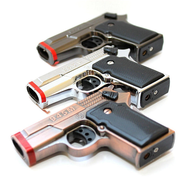 9MM Hand Gun Metal Dual Jet Flames Refillable Butane Torch Lighter 3pcs/Set -Random color