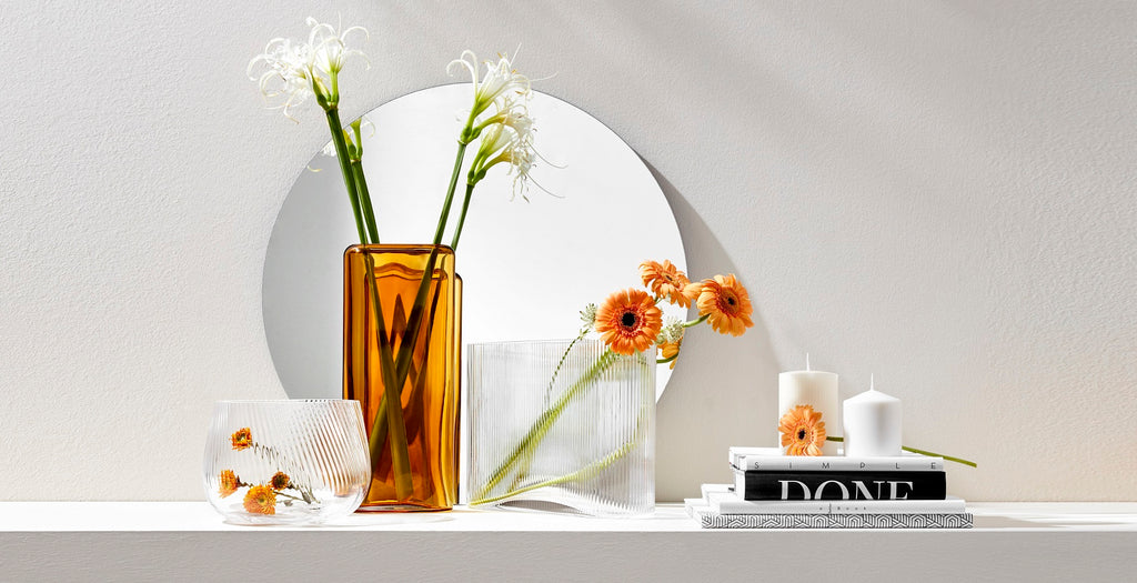 NUDE glass scenery of Layers Vases and Opti vases handcrafted from colored leadfree crystal
