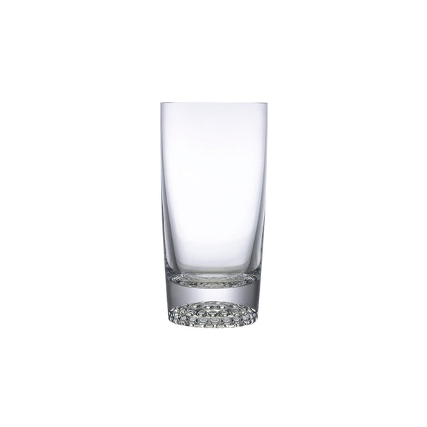 NUDE Ace high ball glasses with golf pattern on the bottom empty