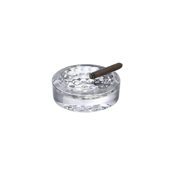 NUDE Ace Ashtray in leadfree crystal with golf pattern on the bottom presented with cigar