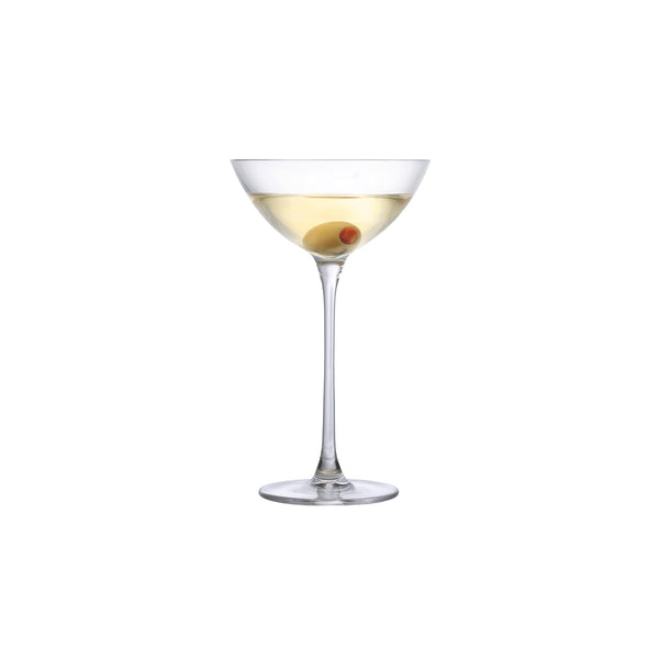NUDE Savage coupetini glass designed by Remy Savage in a clear shot with a martini and olive in it