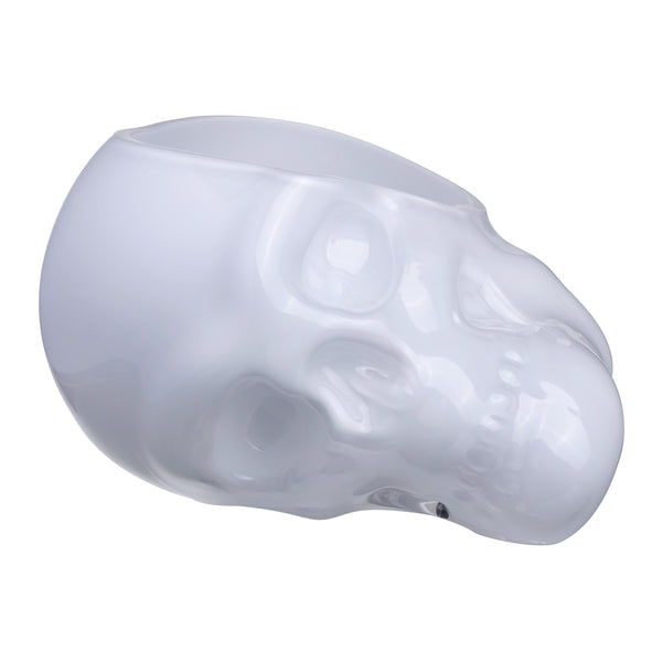 Memento Mori@Faceted Skull Bowl Opal White Large