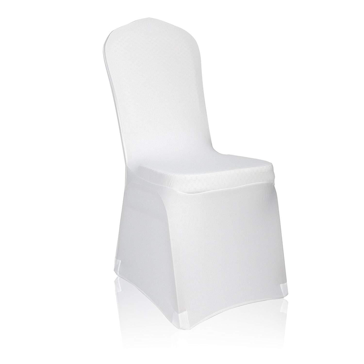 EMART White Color Polyester Spandex Banquet Wedding Party Chair Covers - EMART8