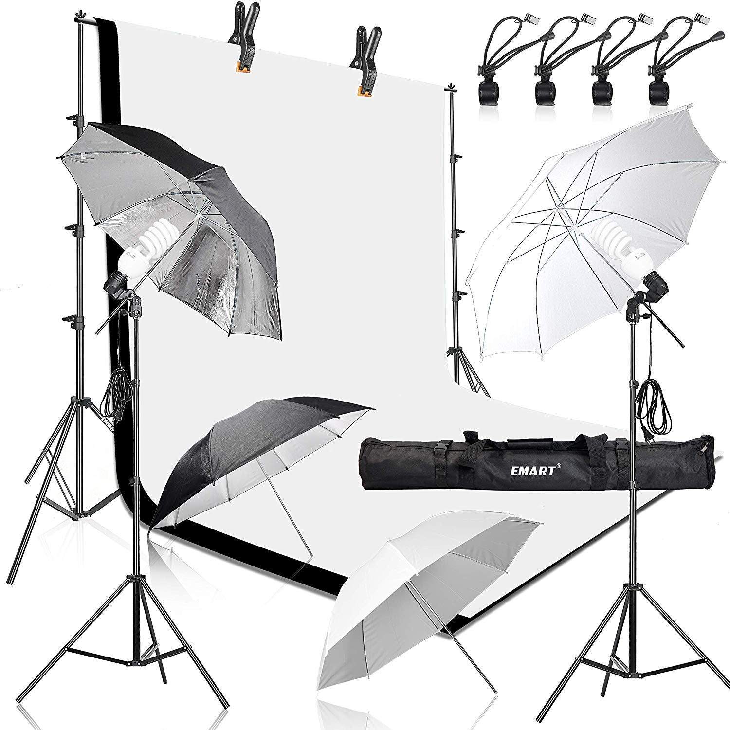 Emart 400W 5500K Daylight Umbrella Continuous Lighting Kit, 8.5x10ft Background