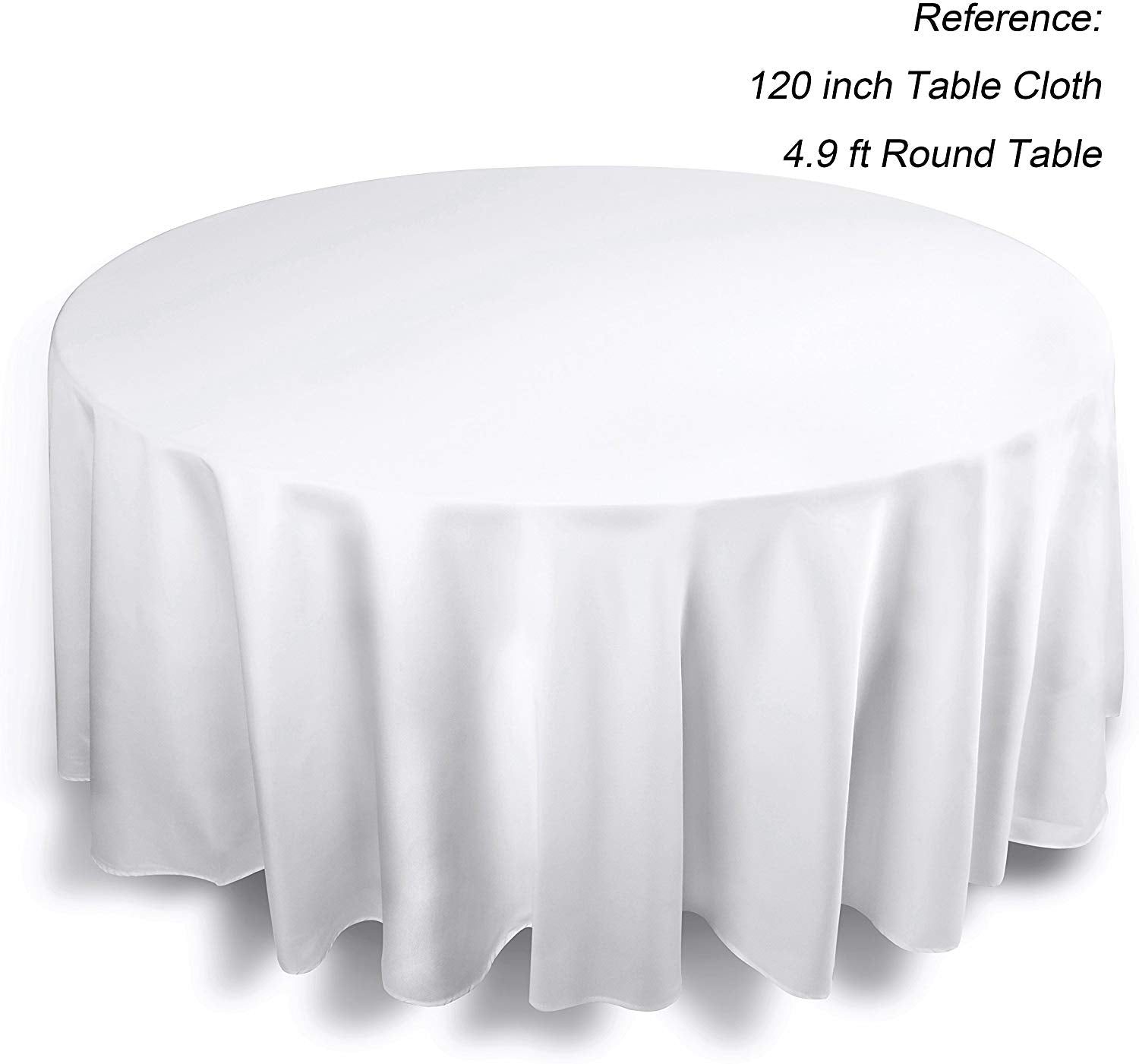 EMART Round Tablecloth, 120 inch Diameter White 100% Polyester Banquet (6 Pack)