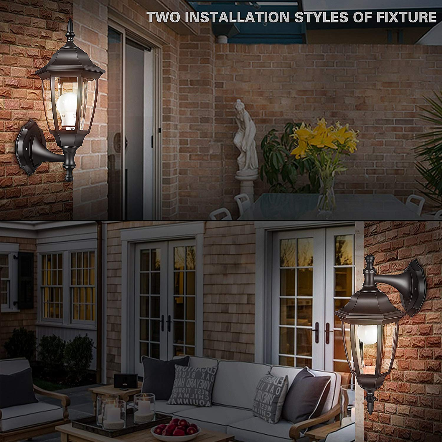 EMART Outdoor Porch Light LED Exterior Wall Light Fixtures, Special Handling Anti-Corrosion 2 Pack