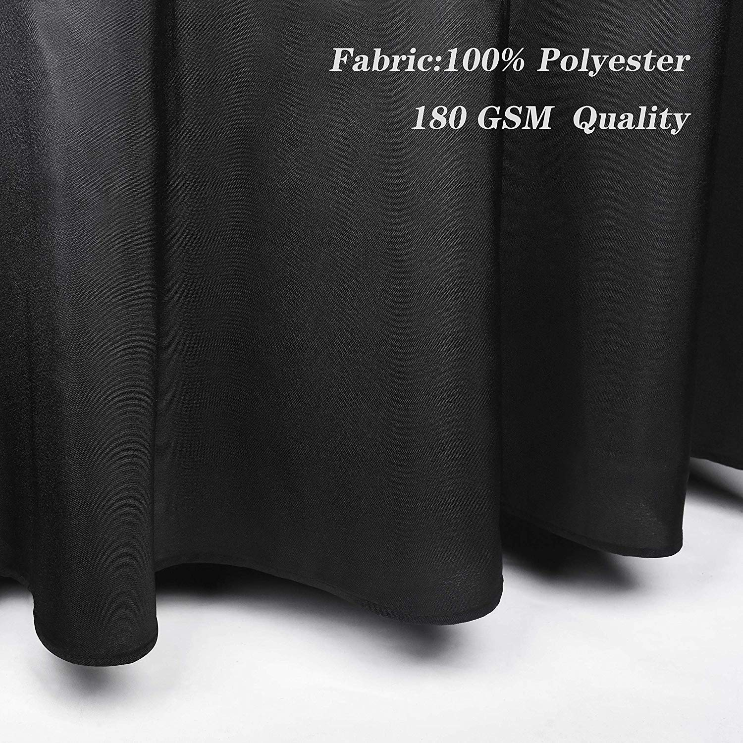 EMART Round Tablecloth, 120 inch Diameter Black 100% Polyester Banquet (6 Pack)